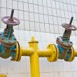 Natural gas pipeline with valves — Stock Photo