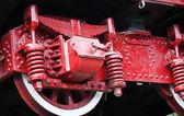 Detail vinobraní parní lokomotiva koly — Stock fotografie