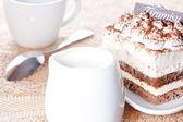 Portion of tiramisu dessert and a cup of coffee — Stock Photo