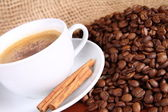 Cup of coffee with cinnamon — Stock Photo