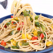 Spaghetti with vegetables - Stok fotoğraf