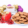 Hot chocolate and cinnamon cookies - Stock Photo
