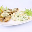 Fried fish with side salad — Stock Photo