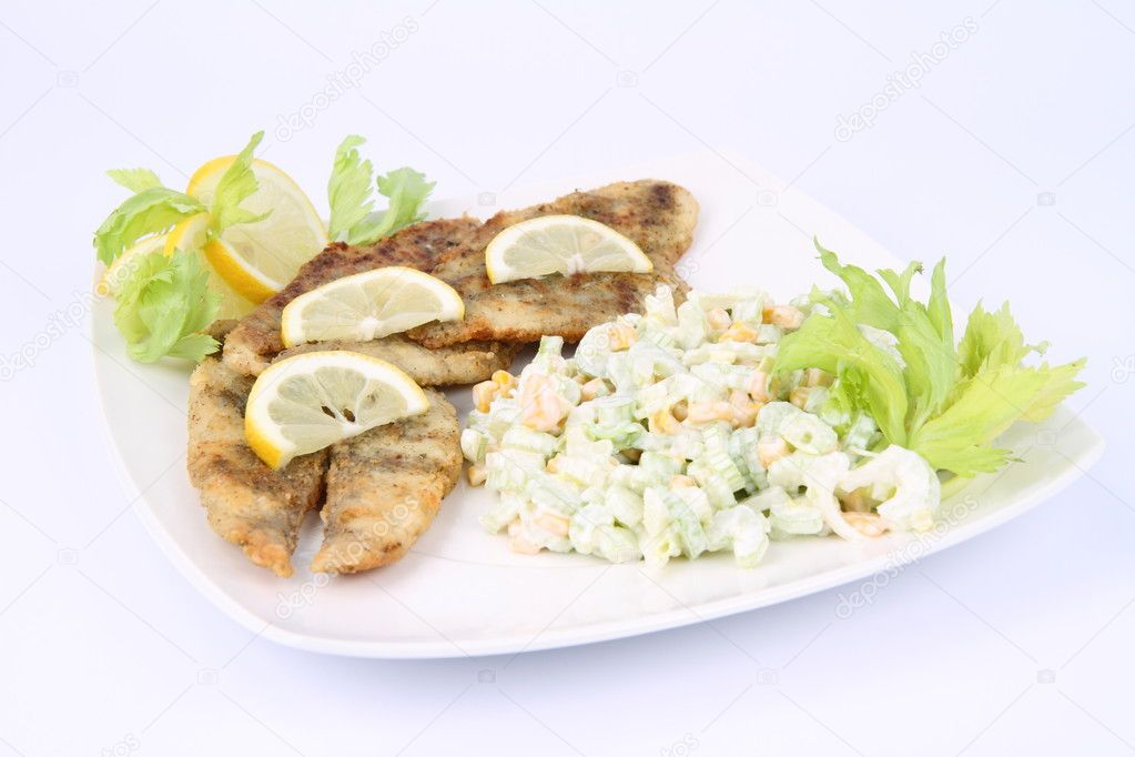 Fried fish with side salad stock photo teine26 4557511 for What sides go with fish