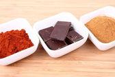 Cinnamon, chocolate and chili — Stock Photo