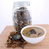 Mushroom soup and dried mushrooms — Stock Photo