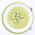 Pea and mozzarella soup — Stock Photo