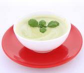 Pea and mozzarella soup — Stock Photo