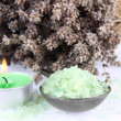 Spa salt, candle and lavender — Stock Photo