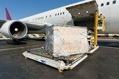 Načítání nákladní letadlo — Stock fotografie