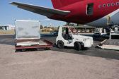 Loading cargo plane — Stock Photo