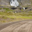 Empty gravel route to Dynjandi waterfall - Iceland — Stock Photo