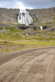 Empty gravel route to Dynjandi waterfall - Iceland — Stock Photo