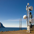 Cell antena on top of the cliff - Iceland — Stock Photo