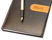 Złote pióro leżącego na pamiętnik — Zdjęcie stockowe