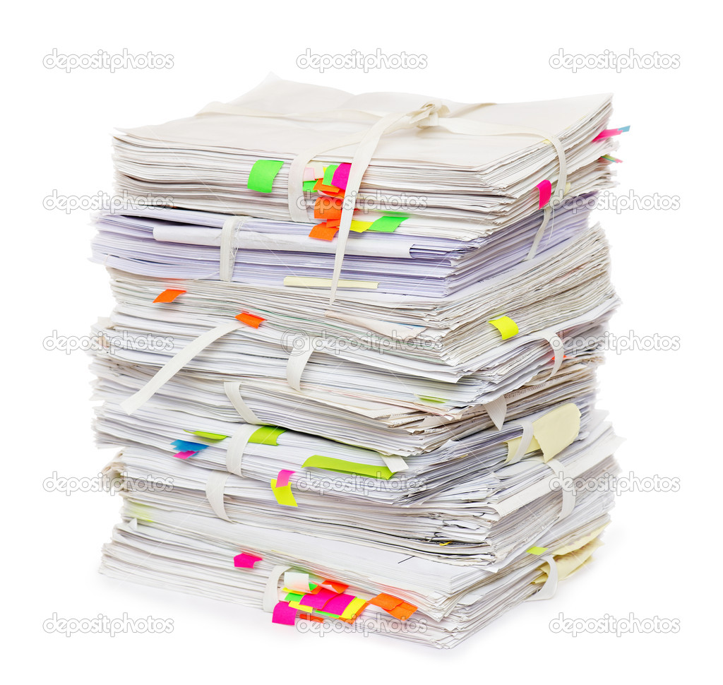 Pile of official papers with color stickers — Stock Photo #5043775