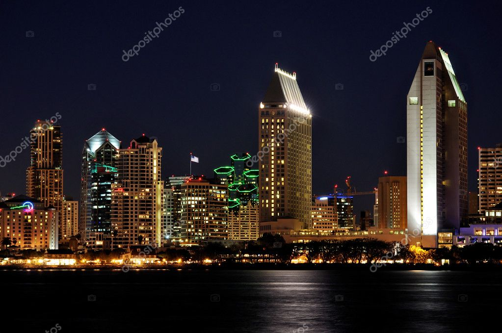 View of San Diego hotels and office towers along the waterfront after dark.  Stock Photo #5035462