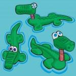 Illustration of funny stylized crocodiles — Stock Vector #4362468