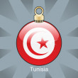Tunisia flag in christmas bulb shape - Stock Vector