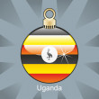 Uganda flag in christmas bulb shape — Stock Vector