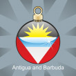 Antigua and Barbuda flag in christmas bulb shape — Stock Vector