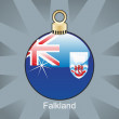Falkland flag in christmas bulb shape — Stock Vector