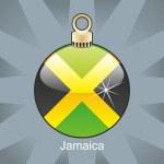 Jamaica flag in christmas bulb shape — Stock Vector