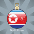 North Korea flag in christmas bulb shape — Stock vektor