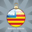 Balearic Islands flag in christmas bulb shape - Stock Vector