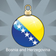 Bosnia and Herzegovina flag in christmas bulb shape — Stock Vector