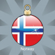Norway flag in christmas bulb shape — Stock Vector