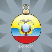Drapeau de l'Équateur en forme de bulbe de Noël — Vecteur