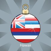Hawaii flag in christmas bulb shape — Stock Vector