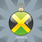 Jamaica flag in christmas bulb shape — Stock Vector