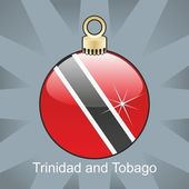 Trinidad and Tobago flag in christmas bulb shape — Stock Vector