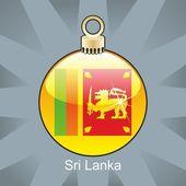 Sri Lanka flag in christmas bulb shape — Stock Vector