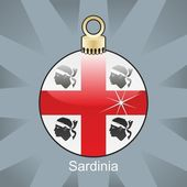 Sardinia flag in christmas bulb shape — Stock Vector