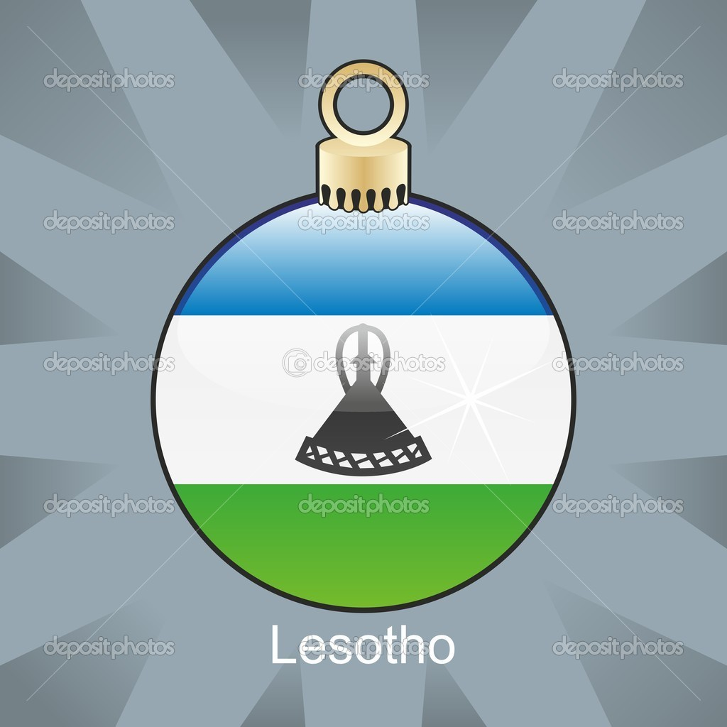 Fully editable vector illustration of isolated Lesotho flag in christmas bulb shape — Stock Vector #4450792