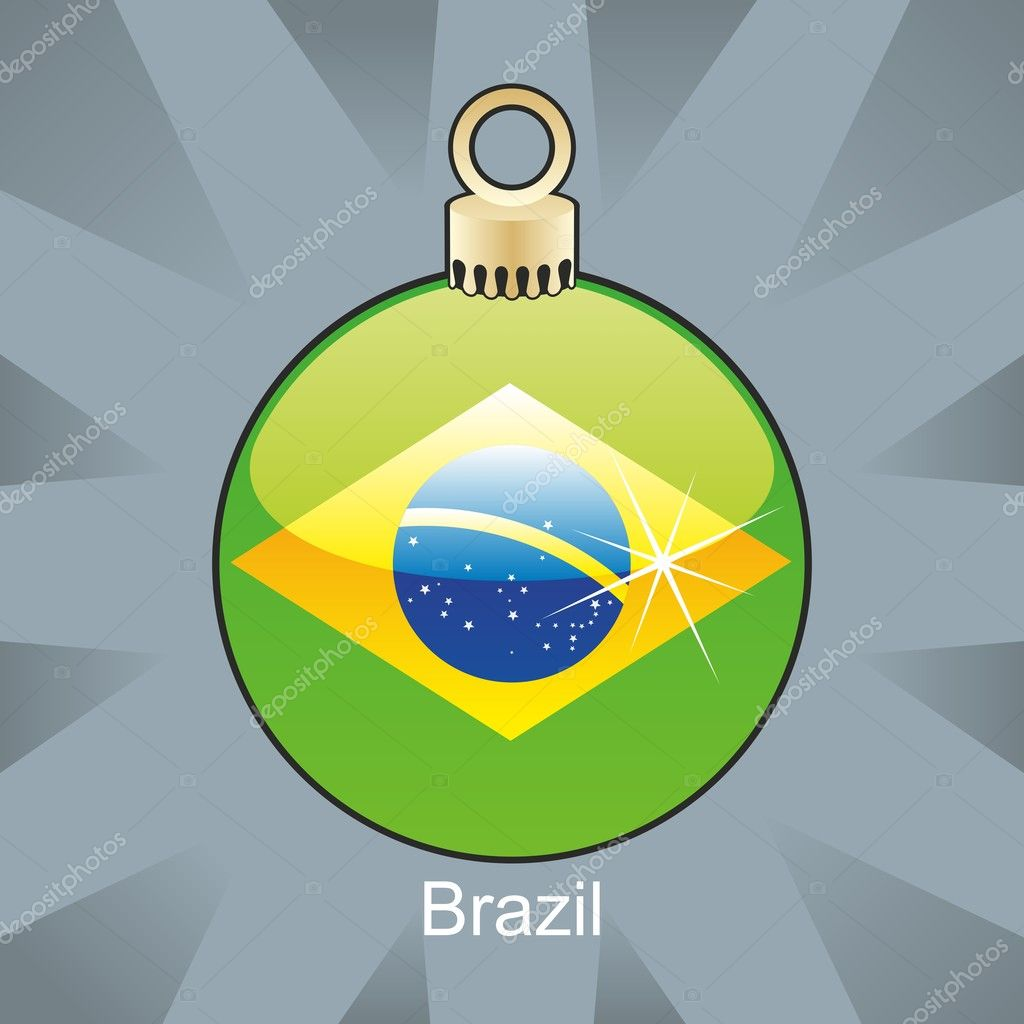 Fully editable vector illustration of isolated Brazil flag in christmas bulb shape — Stock Vector #4450865