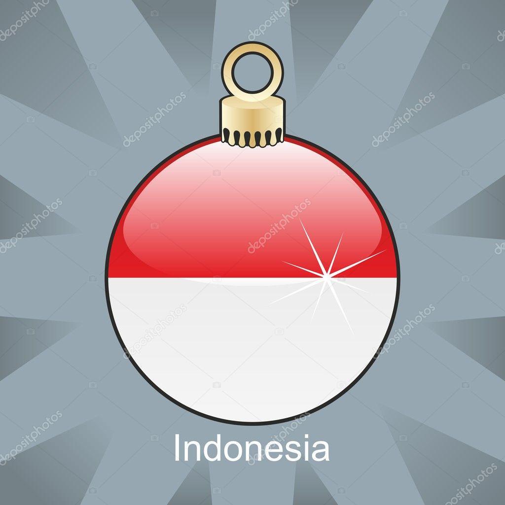 indonesia flag in christmas bulb shape stock vector. Black Bedroom Furniture Sets. Home Design Ideas