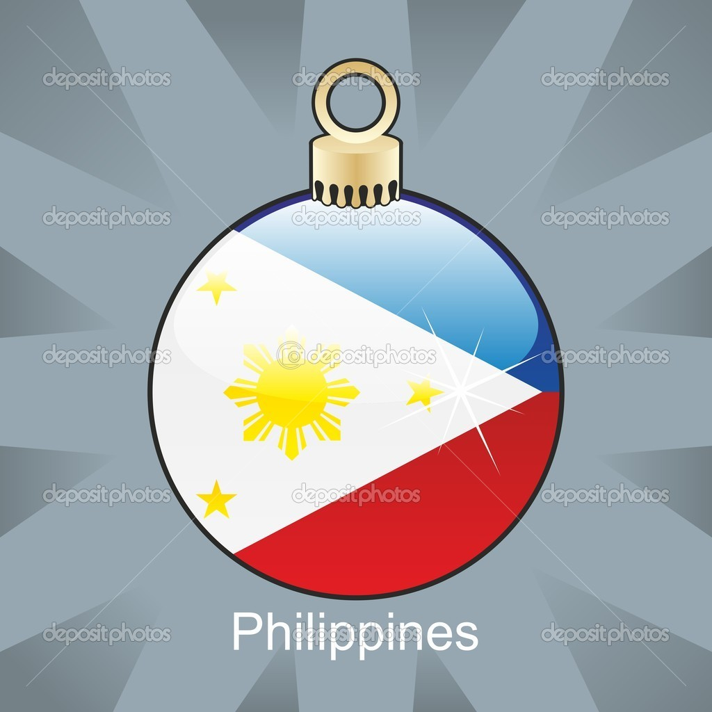 Fully editable vector illustration of isolated Philippines flag in christmas bulb shape — Stock Vector #4450987