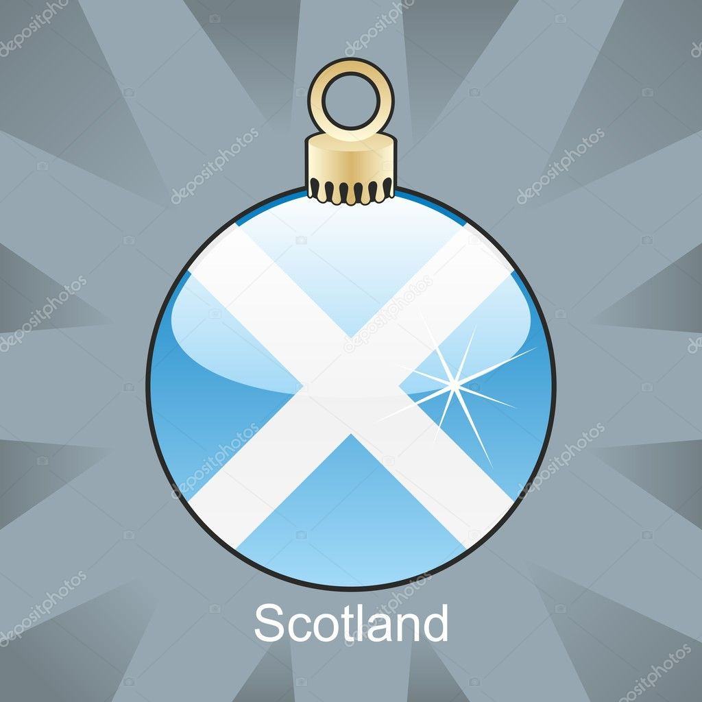 Fully editable vector illustration of Scotland flag in christmas bulb shape — Stock Vector #4451064