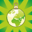 Christmas bulb with world globe layout — Imagen vectorial