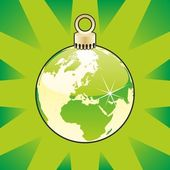 Christmas bulb with world globe layout — Vecteur