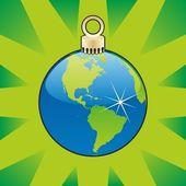 Boże narodzenie bulwa z układu globu świat — Wektor stockowy