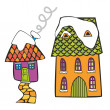 Illustration of colored houses on winter time - Stock Vector