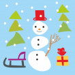 Isolated funny snowman and christmas items - Stock Vector