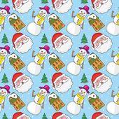 Modello senza saldatura con articoli natalizi — Vettoriale Stock