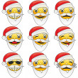Illustration of santa claus emoticons - Stock Vector