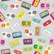 Stock Vector: Seamless pattern audio cassettes